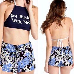 Wildfox Blue Bouquet Floral Mini Swim Shorts Black